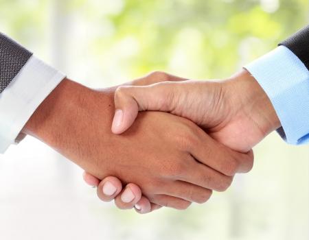 gesture of businessman's hand shaking