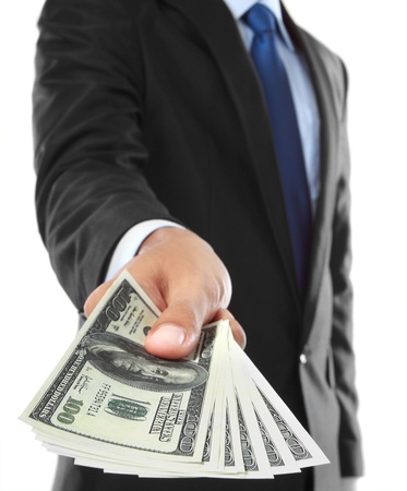 close up of businessman's hand offering money isolated over white background