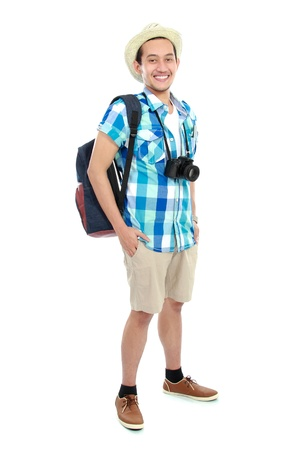 portrait of a tourist isolated on white background