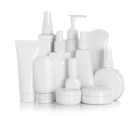 Photo pour Gel, Foam Or Liquid Soap Dispenser Pump Plastic Bottle White on a white background with reflection - image libre de droit