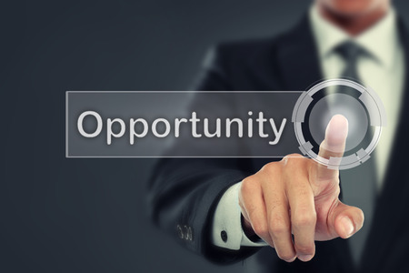 Photo pour portrait of Businessman push to  Opportunity button on virtual screen - image libre de droit