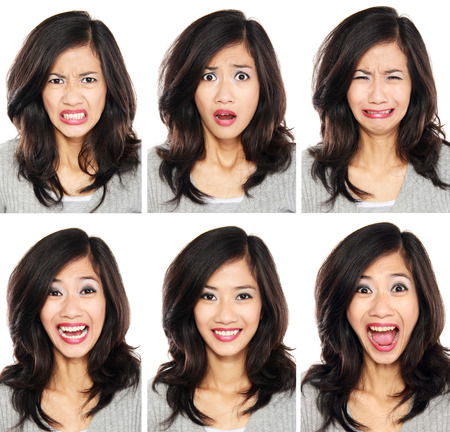 Photo for young woman with different facial expression face set isolated on white background - Royalty Free Image