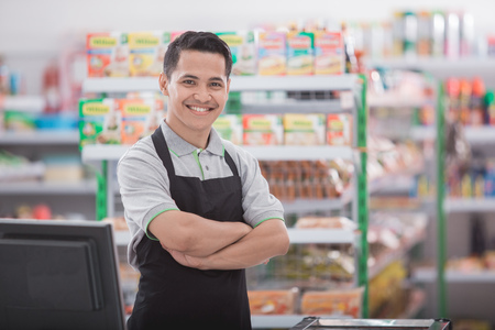 Photo for portrait of happy asian male shopkeeper - Royalty Free Image