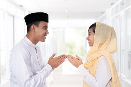 Photo for muslim woman hand touching greeting - Royalty Free Image