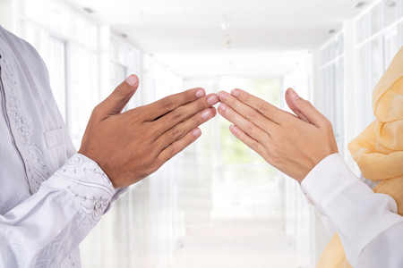 Photo for muslim hand finger tip touching greeting - Royalty Free Image