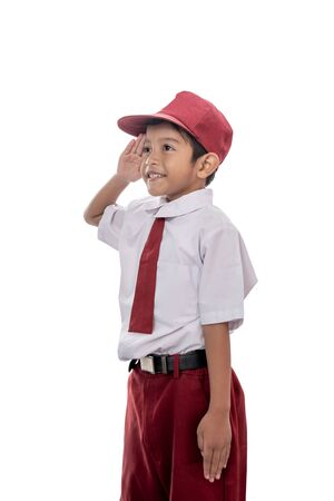 Foto per student giving salute - Immagine Royalty Free