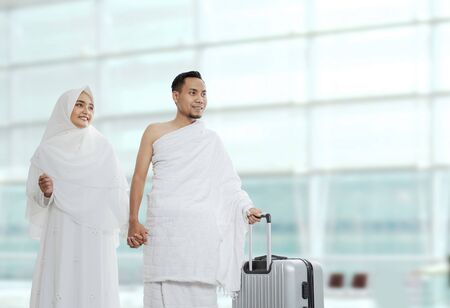 Photo for muslim couples wife and husband ready for Hajj - Royalty Free Image