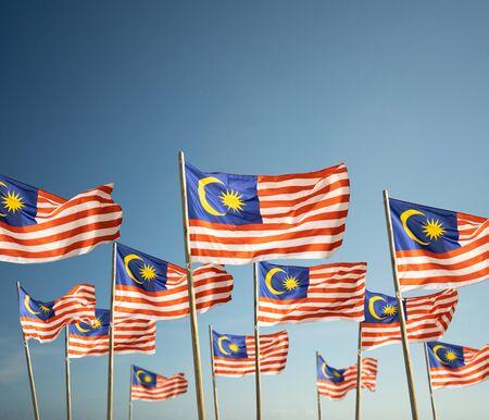 Photo pour malaysia flag under blue sky - image libre de droit