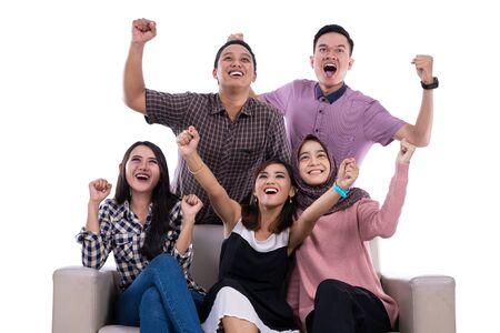 Photo pour Group of student college university hands up - image libre de droit