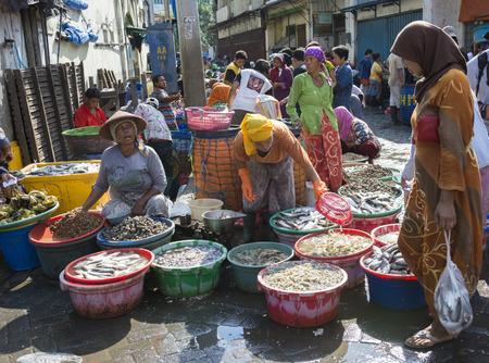 Traditional Fish Market in old district Pabean, Surabaya