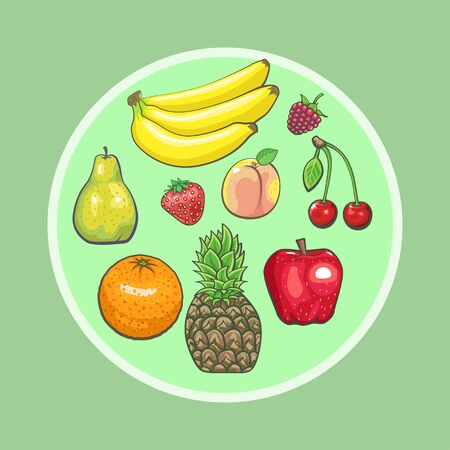 Illustration for Fresh fruits icons set. Collection of vector sweet vegetarian food illustration: pear and strawberry, orange, apple and banana, peach, lemon and watermelon, pineapple and papaya. Healthy symbols - Royalty Free Image
