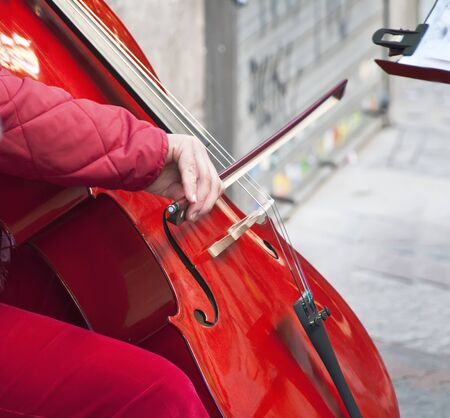 Closeup of a woman playing the cello