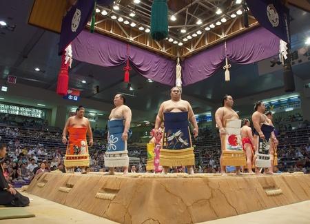 Nagoya, Japan- July 18: sumo tournament in Nagoya pavilion