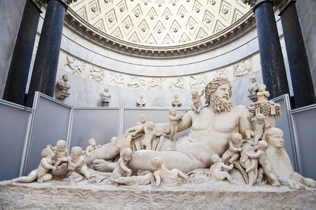 A Roman sculpture lying in the Vatican Museums in Rome