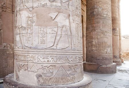 Detail of the columns in the Temple of Kom Ombo in Egypt