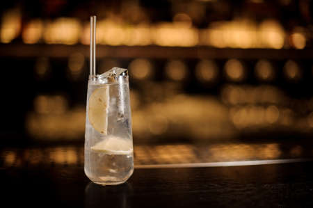 Foto de Delicious Tom Collins cocktail in the glass decorated with tubule and lemon standing on the bar counter on the blurred background - Imagen libre de derechos
