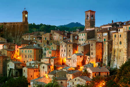 Beautiful medieval town in Tuscany, Sorano-(Grosseto, Tuscany, Italy) Vintage effect