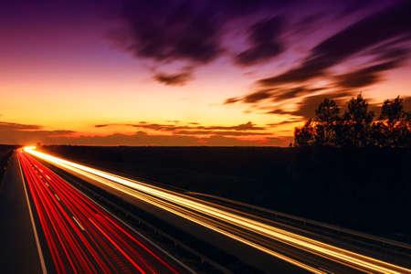 Foto de Cars speeding on a highway, Hungary - Imagen libre de derechos