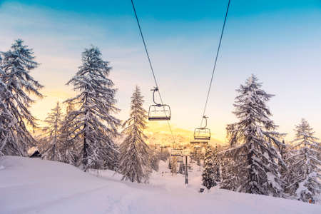 Foto de Winter mountains panorama with ski slopes and ski lifts near Vogel ski center, Slovenia - Imagen libre de derechos
