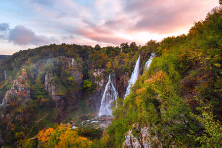 Beautiful waterfall autumn in  Plitvice National Park, Croatia
