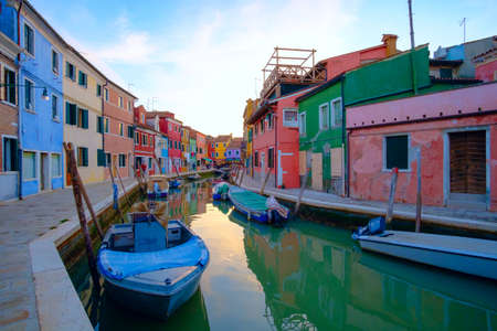 Colorful house in Burano island, Venice, Italy. Europe