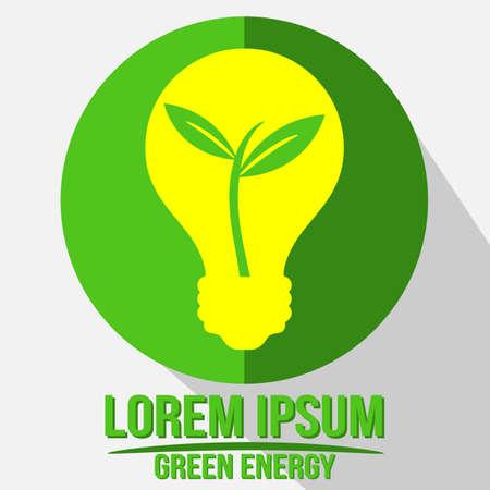 Green Bulb Renewable Energy  With Growing Plant