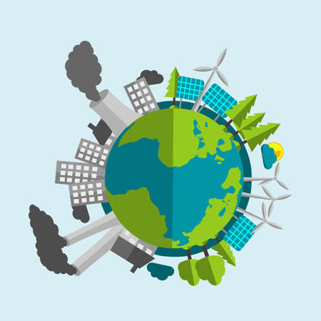 Planet Earth Cartoon - Half Filled With Renewable Energy Sources And Nature - Half With Industry And Pollution