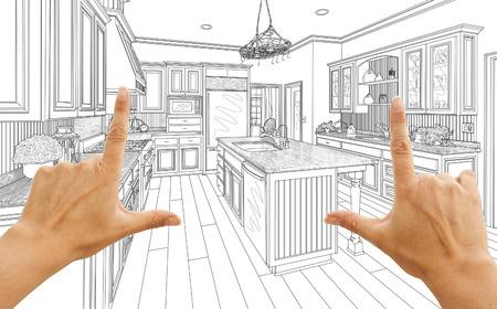 Female Hands Framing Custom Kitchen Design Drawing.
