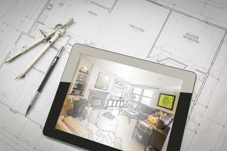 Computer Tablet Showing Living Room Illustration Sitting On House Plans With Pencil and Compass.