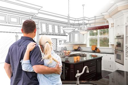 Foto de Couple Facing Custom Kitchen Drawing Gradating To Photo. - Imagen libre de derechos