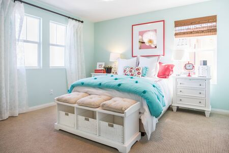 Photo for Interior of A Beautifully Decorated Bedroom. - Royalty Free Image