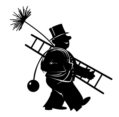 stylized illustration of chimney sweeper at work