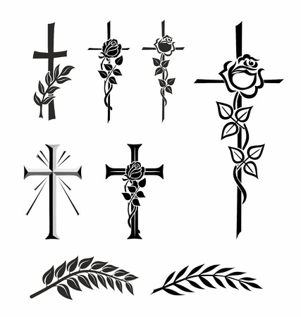 illustration of different crosses with rose or laurel