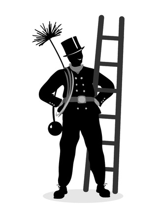stylized illustration of a proud chimney sweeper at work