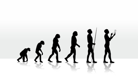 illustration of human evolution and mobile computing