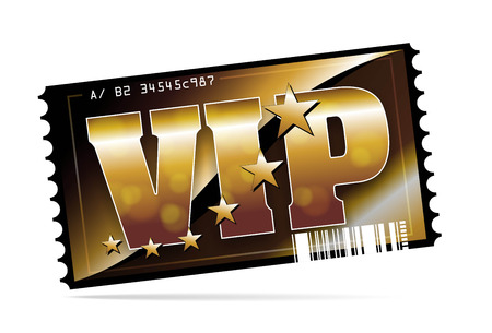 illustration of a golden and exclusive VIP ticket