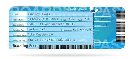 illustration of a flight ticket for a journey