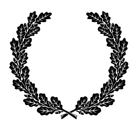 Illustration pour a simplified wreath made of oak leaves - image libre de droit