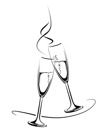 illustration of clinking champagne glasses for a festive occasion
