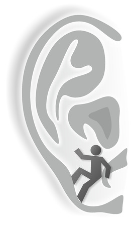 simplified illustration of ear as metaphor for hearing impairment