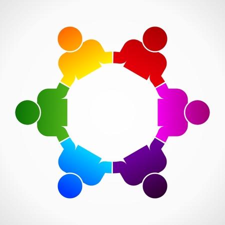 Ilustración de abstract form as symbol for teamwork and diversity - Imagen libre de derechos