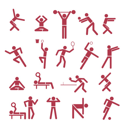 set with different signs for sports activities