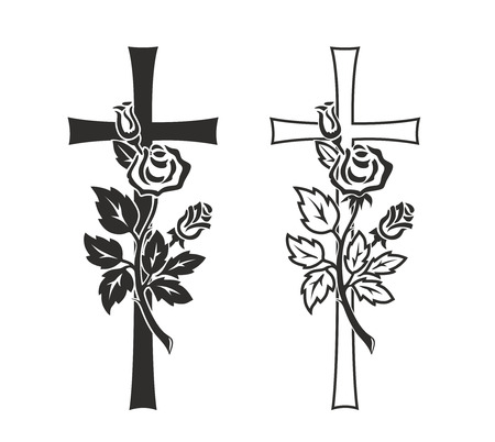 simplified illustration of cross with rose for decoration