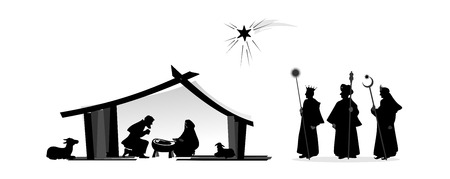 Photo for nativity play with silhouettes and baby jesus - Royalty Free Image
