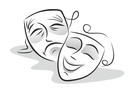 illustration of theater masks, smiling and crying