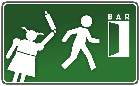 funny warning sign with angry woman and escaping man