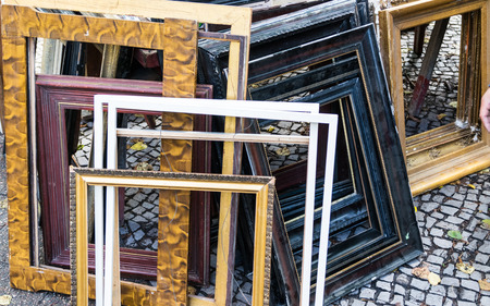 Picture of wooden and metal frames on display