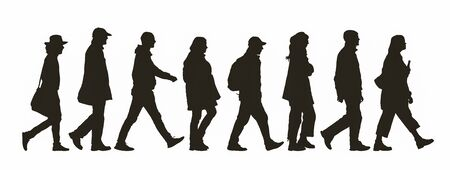 Photo pour Abstract silhouette of different people walking by - image libre de droit