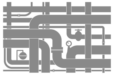 confusing pipe system with many different pipe runs
