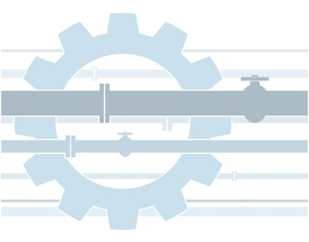gear wheel and pipe as a symbol for engineering